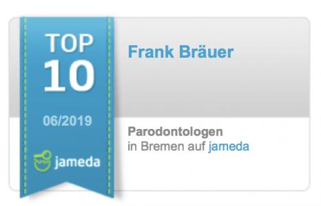 Jameda Bewertungen Top Zahnarzt Parodontologie Frank Bräuer Bremen Nord