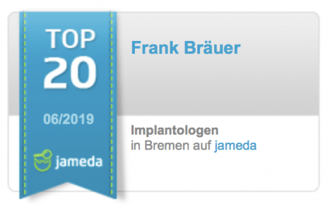 Jameda Bewertungen Top Zahnarzt für Implantologie Frank Bräuer Bremen Nord